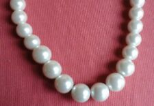 Graduated Chunky Pearl Bead Necklace Simulated Pearl White Beads Jewellery Chain