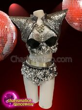CHARISMATICO Showgirl Silver black colored costume with sequin jacket and belt