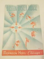 Vintage 1940s Restaurant Menu Boston Oyster House Morrison Hotel Chicago VTG