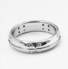 TIFFANY & CO. Diamond Band Ring 18K White Gold ~ SIze 6 . 20CT Diamonds F Color