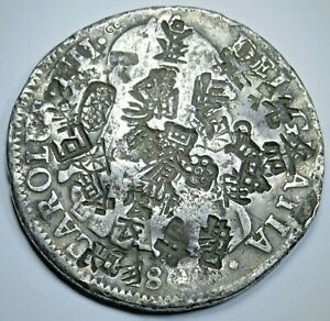 1800 Chopmarks Mexico 8 Reales Antique Spanish Silver Dollar Counterstamp Coin