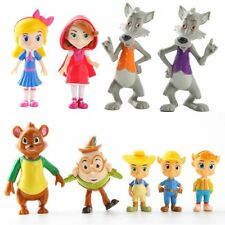 9 pcs Junior Goldie and Bear Little Red Riding Pigs Wolf Figure Cake Topper Gift
