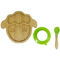 Baby Toddler Bamboo Sheep Plate Silicone Suction Feeding Bowl Suction Spoon Set