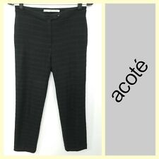 Acote/Cotelac $225 textured black jacquard cropped flat front pants~0
