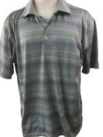 Grand Slam Performance mens polo golf shirt size L large gray yellow stripe