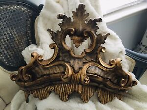 """Chantilly Burnished Gold Elaborate Bed Crown ~  18""""W X 9""""D X 13.5""""H"""