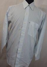 Alain Delon 15.5 15 1/2 32/33 white blue stripe button down front dress shirt R7