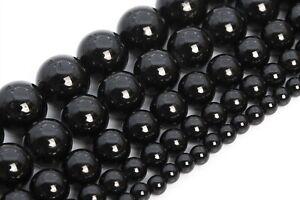 Natural Black Tourmaline Beads Brazil Grade AAA Round Loose Beads 3/4/5/6/8/10MM