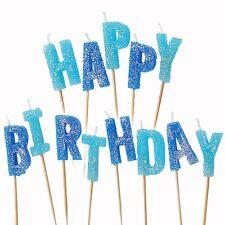 13 Blue Sparkle Happy Birthday Glitter Cake Decoration Pick Candles