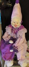 Large Purple Clown Doll with Vintage Face Handmade over Three Feet Tall