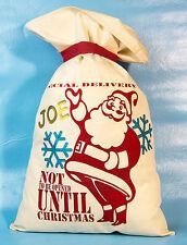 PERSONALISED Christmas Santa Claus Sack Bag xmas Stocking Vintage Primitive