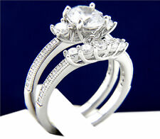 Engagement Ring Sterling Silver Simulated Diamond Womens Bridal Wedding Band Set