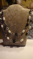 Damen, Edelstahl  Halskette mit Edelsteine, Achate und Jade,  Kette, silber