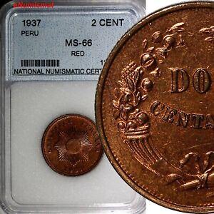 Peru 1937 2 Centavos  MS66 RED Nice Toning Low Mintage-963,000 KM# 212.1