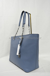 Michael Kors Mercer Chain Medium Top Zip Leather Tote/Shoulder Bag in Denim Blue