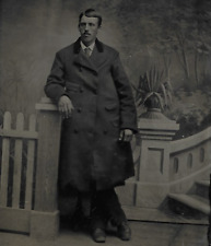 TINTYPE PHOTO # T624 TALL MAN W/ MUSTACHE & POSING IN LONG COAT PARTED HAIR