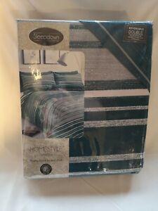 Sleepdown Textured Stripe Bouble Teal Soft Duvet Cover Quilt Bedding Set