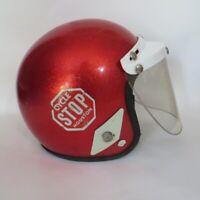 Vintage 1960s Metal Flake Sparkle Motorcycle Helmet Houston Motocross Cycle Stop