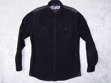 Tranquility Mayhem Large Mens Black Button Long Sleeve Shirt Collar Casual Dress
