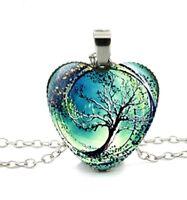 Halskette Glas Anhänger Baum Umwelt Erde Universum Kette Herz Natur Schmuck Grün
