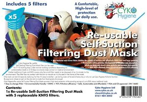 Half Face Dust Mask Respirator Reusable Anti-Dust Including 5 Filters