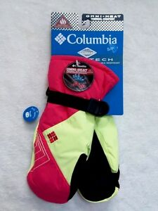 NWT COLUMBIA Girls Mittens Omni-Heat, Omni-Tech Waterproof Yellow/ Pink XS~S~M~L