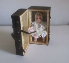 "Tiny Porcelain 2"" Baby Doll With 2 1/4"" Brown Trunk Scale 1:12  Doll House Size"