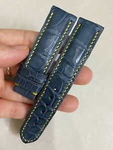 22mm/20mm Padded  Gray  Genuine  Leg LEATHER SKIN WATCH STRAP BAND