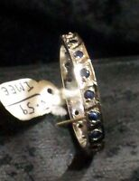 925 Sterling silver Eternity ring, Real Blue Sapphire Women's Ring Size No. P