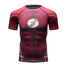 Superhero Flash Men Compression Shirt Top Short Sleeve For Outdoor Gym Red