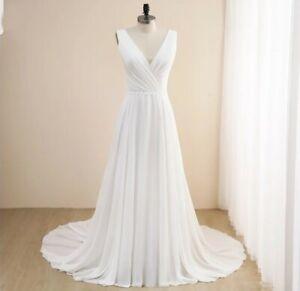 UK White/Ivory Chiffon V Neck Beach Bridal Plus Size Wedding Dresses Size 6-26