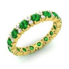 1.95 Ct Diamond Emerald Engagement Eternity Band 14K Real Yellow Gold Ring Size
