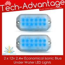 2 X 12V ISONIC BLUE LED UNDERWATER TRANSOM SMALL BOAT BAIT FISHING LED LIGHT