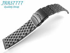 26mm Watch Bracelet Stainless Steel Black Brushed 7 Row Solid Link Class Buckle