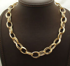 Technibond Bold Double Oval Link Chain Necklace 14K Yellow Gold Clad Silver HSN