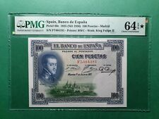1925 SPAIN 100 PESETAS P# 69c PMG 64 EPQ STAR * CHOICE UNC