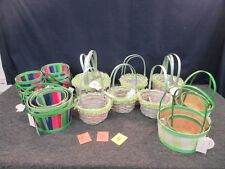28 GREEN EASTER JUBILEE WOODEN BASKETS BUNNY CRAFT WOVEN DECORATION RABBIT ROUND