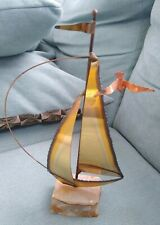 Vintage Mid Century MARIO JASON Brass Sail Boat Sculpture Art MCM Artist Signed
