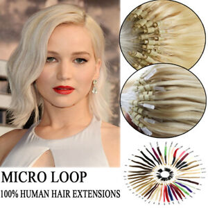 """18""""20""""1G Remy Micro Loop Ring Silicone Beads Human Hair Extensions Double Drawn"""