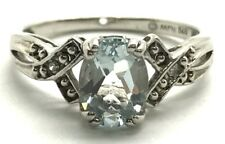 Sterling Silver Solitaire Blue Aquamarine - Diamond Accent Petite Cocktail Ring