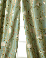 Gold Butterfly on sheer faux silk organza curtains unlined Neiman Marcus pair