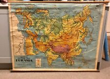 ORIGINAL VINTAGE AUSTRALIAN ASIA EUROPE EURASIA GEOGRAPHY WORLD MAP SCHOOL ATLAS