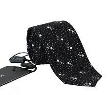 NEW DOLCE & GABBANA Tie Black 100% Silk Dotted Pattern Logo Classic Necktie