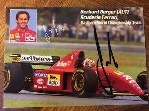 Gerhard Berger Autogramm Karte autograph card signed F1 Ferrari