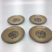 "Pfaltzgraff Folk Art Set of 4 Salad Plates tan blue -Light Scratches -7"" Across"