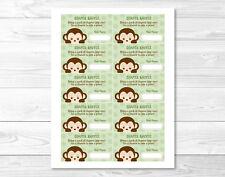 Mod Monkey Jungle Safari Printable Baby Shower Diaper Raffle Tickets
