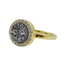 Gold-Tone Sterling Silver Grey Druzy Quartz Womens Right Hand Ring (6)