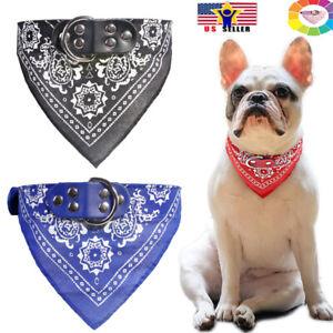Dog Cat Medium Large Pet Neck Scarf Bandana Leash Leather Collar Adjustable Belt