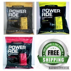 Powerade Drink Mix Powder Makes 5 Gallons White Cherry/Tropical Mango/Lemon Lime