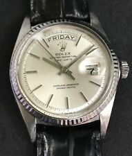 Rolex Day Date President Rare 18K  White Gold And Pie Pan Dial With Box